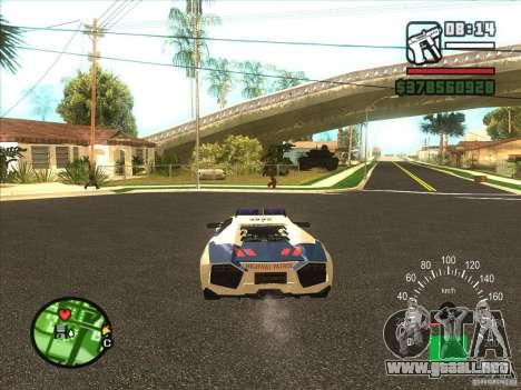 Lamborghini Reventon Police para GTA San Andreas vista posterior izquierda