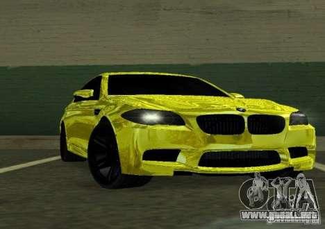 BMW M5 F10 Gold para GTA San Andreas vista hacia atrás