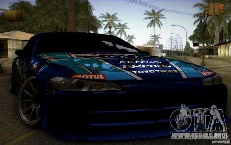 Nissa Silvia S15 Toyo para GTA San Andreas vista posterior izquierda