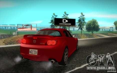 Mazda RX-8 R3 2011 para GTA San Andreas vista hacia atrás