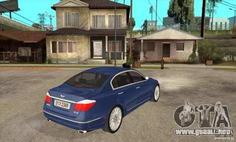 Hyundai Genesis para GTA San Andreas vista posterior izquierda