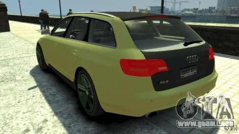 Audi RS6 Avant 2010 Carbon Edition para GTA 4 Vista posterior izquierda