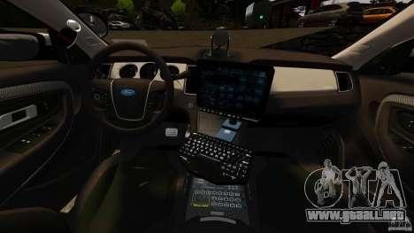 Ford Taurus 2010 CCSO Police [ELS] para GTA 4 vista hacia atrás