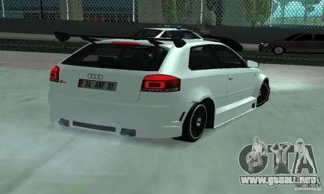 Audi S3 Full tunable para GTA San Andreas vista posterior izquierda