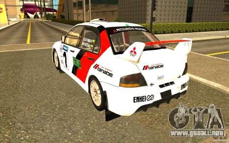 Mitsubishi Lancer Evo IX en el vinilo nuevo para GTA San Andreas vista posterior izquierda