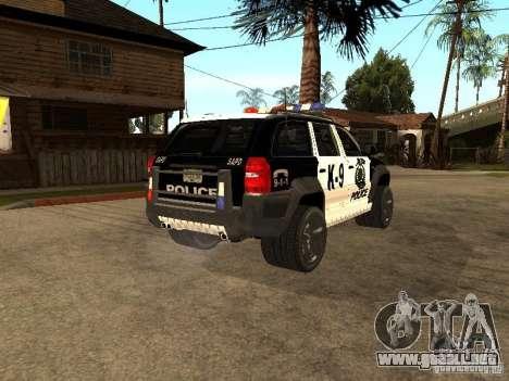 Jeep Grand Cherokee police K-9 para GTA San Andreas vista posterior izquierda