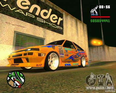 Ae86 tuned by Xavier para GTA San Andreas left