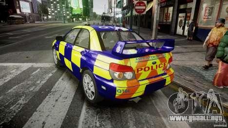 Subaru Impreza WRX Police [ELS] para GTA 4 Vista posterior izquierda