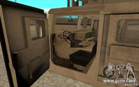 Hummer H1 Military HumVee para GTA San Andreas vista hacia atrás