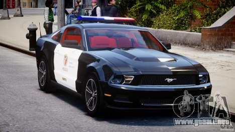 Ford Mustang V6 2010 Police v1.0 para GTA 4 vista hacia atrás