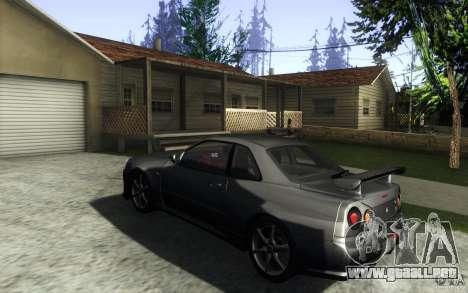 Nissan Skyline GTR R34 VSpecII para GTA San Andreas vista posterior izquierda