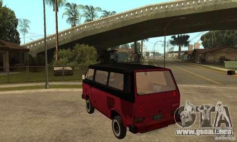 Volkswagen T3 Rusty para GTA San Andreas vista posterior izquierda