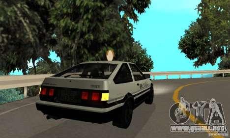 Toyota Sprinter Trueno GT-APEX AE86 83 Initial D para la visión correcta GTA San Andreas