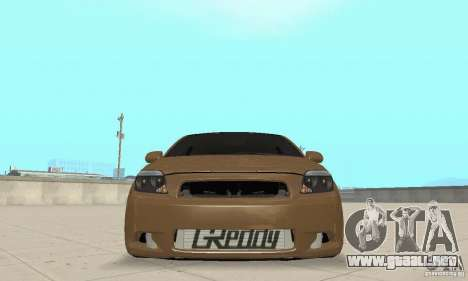 Toyota Scion tC Edited para GTA San Andreas vista hacia atrás