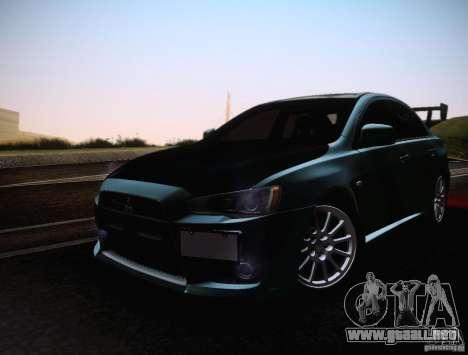 Mitsubishi Lancer Evolution Drift Edition para visión interna GTA San Andreas