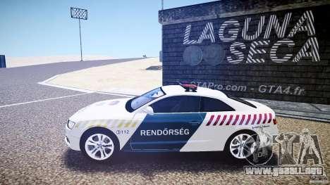 Audi S5 Hungarian Police Car white body para GTA 4 left