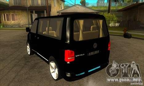 Volkswagen Caravelle 2011 SWB para GTA San Andreas vista posterior izquierda