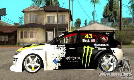 Subaru Impreza 2009 (Ken Block) para GTA San Andreas left
