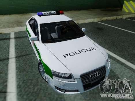 Audi A6 Police para GTA San Andreas vista hacia atrás
