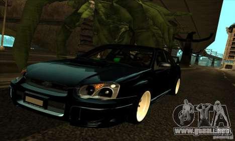 Subaru Impresa WRX light tuning para la vista superior GTA San Andreas