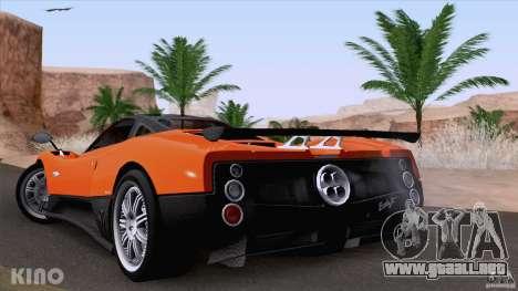 Pagani Zonda F para GTA San Andreas vista hacia atrás