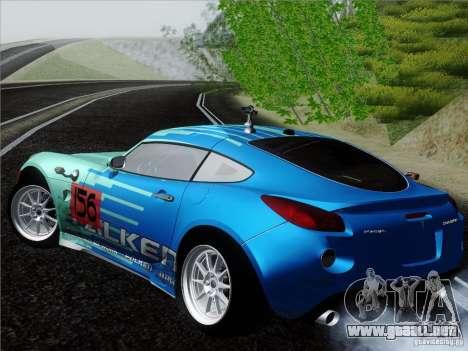 Pontiac Solstice Falken Tire para GTA San Andreas vista posterior izquierda