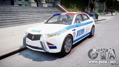 Carbon Motors E7 Concept Interceptor NYPD [ELS] para GTA 4 vista hacia atrás