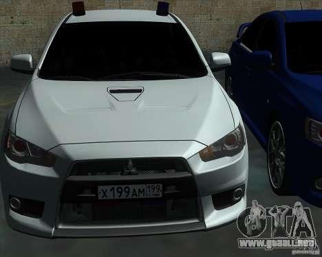 Mitsubishi Lancer Evolution X MR1 v2.0 para vista lateral GTA San Andreas