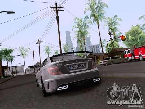 Mercedes-Benz C63 AMG Coupe Black Series para GTA San Andreas vista hacia atrás