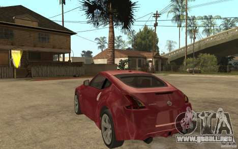 Nissan 370Z 2010 para GTA San Andreas vista posterior izquierda