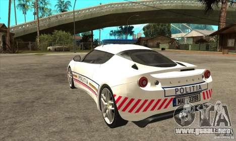 Lotus Evora S Romanian Police Car para GTA San Andreas vista posterior izquierda