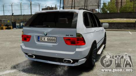 BMW X5 4.8IS BAKU para GTA 4 Vista posterior izquierda