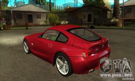 BMW Z4 - Stock para GTA San Andreas vista posterior izquierda