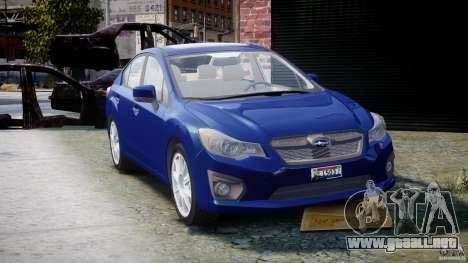Subaru Impreza Sedan 2012 para GTA 4 vista hacia atrás