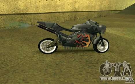 Motocicleta de la ciudad de Alien para GTA San Andreas vista posterior izquierda