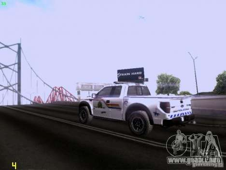Ford Raptor Royal Canadian Mountain Police para la visión correcta GTA San Andreas