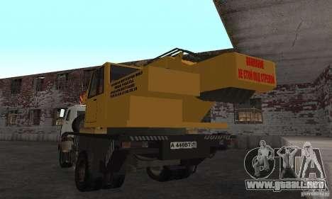 MAZ camión grúa para GTA San Andreas vista posterior izquierda