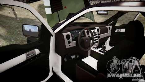 Ford F150 SVT Raptor 2011 UNSC para GTA 4 vista superior
