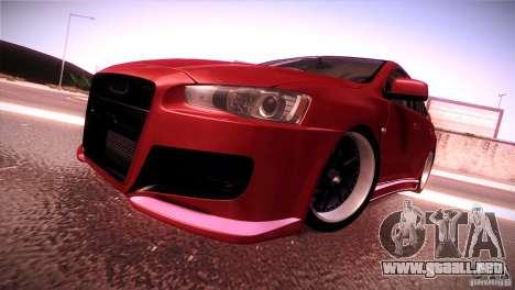 Mitsubishi Lancer Evolution X Tunable para GTA San Andreas vista posterior izquierda