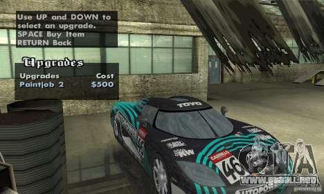 Koenigsegg CCX (v1.0.0) para visión interna GTA San Andreas