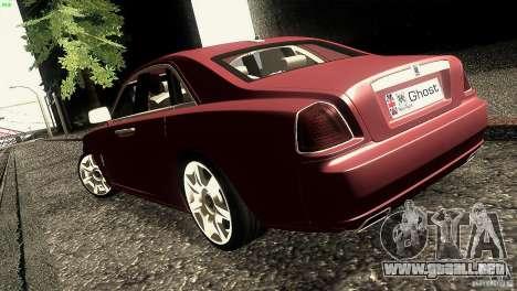 Rolls-Royce Ghost 2010 V1.0 para GTA San Andreas vista posterior izquierda