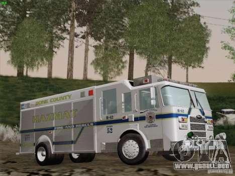 Pierce Fire Rescues. Bone County Hazmat para vista lateral GTA San Andreas