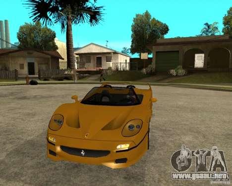 Ferrari F50 para GTA San Andreas vista hacia atrás