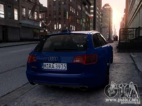 Audi RS6 Avant para GTA 4 vista hacia atrás