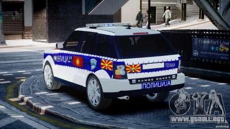 Range Rover Macedonian Police [ELS] para GTA 4 Vista posterior izquierda