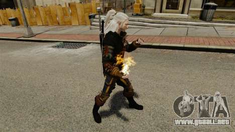 Fuego en las manos de Geralt para GTA 4