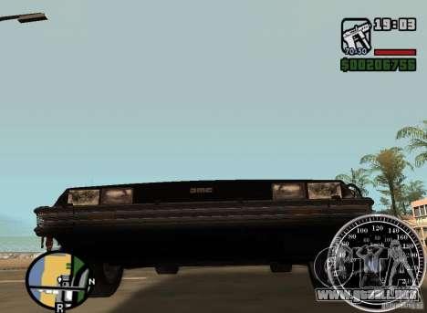 Crysis Delorean BTTF1 para GTA San Andreas vista hacia atrás