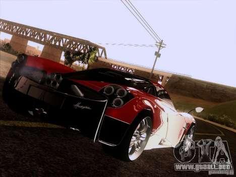 Pagani Huayra 2012 para GTA San Andreas vista hacia atrás