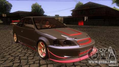 Honda Civic SI para GTA San Andreas vista hacia atrás