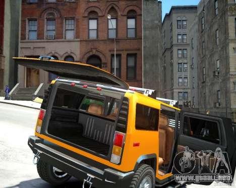 Hummer H2 2010 Limited Edition para GTA 4 vista hacia atrás